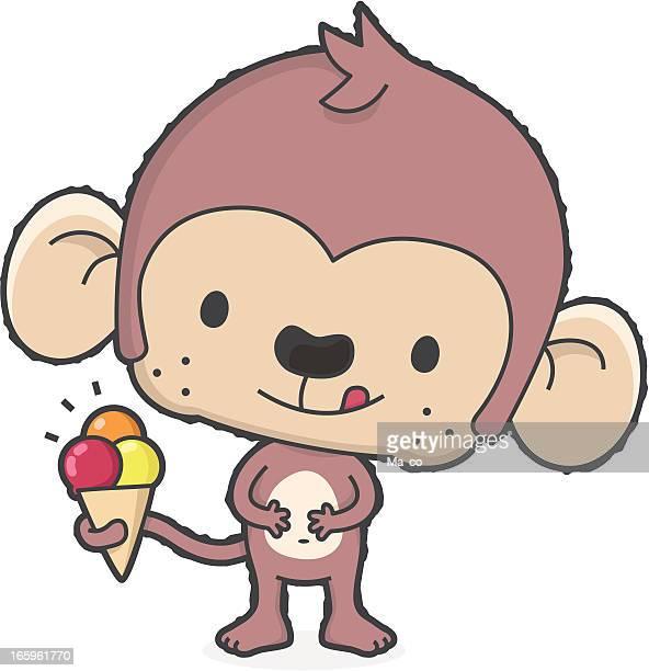 """summertime"" cartoon monkey with ice cream in summer"
