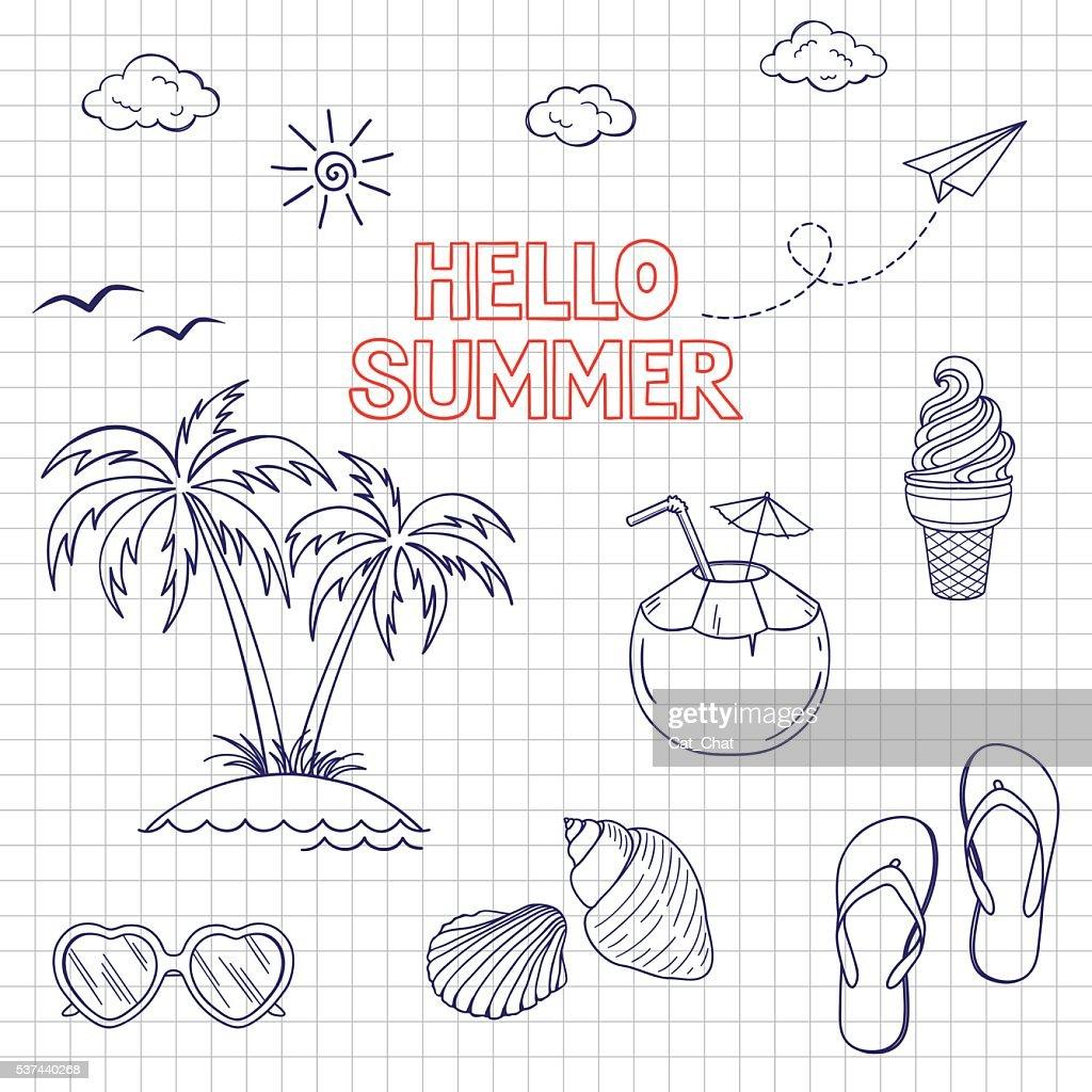 Summertime icons set