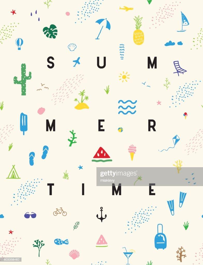 Affiche de modèle sans couture de Summertime : Illustration