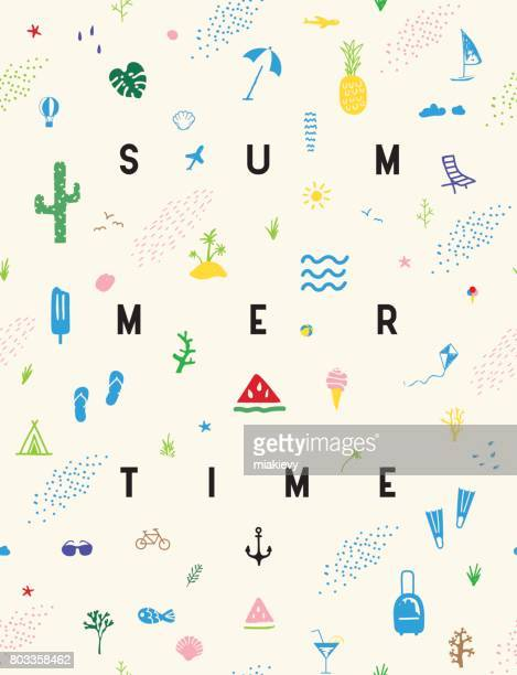 stockillustraties, clipart, cartoons en iconen met zomer naadloze patroon poster - summer