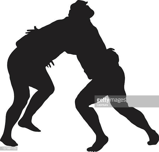sumo wrestling silhouette - sumo wrestling stock illustrations