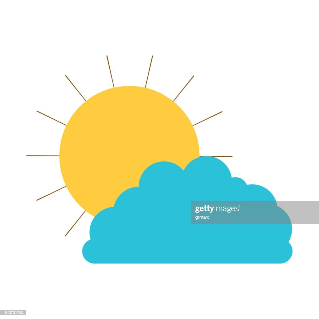 sun and cloud colorful silhouette vector art getty images