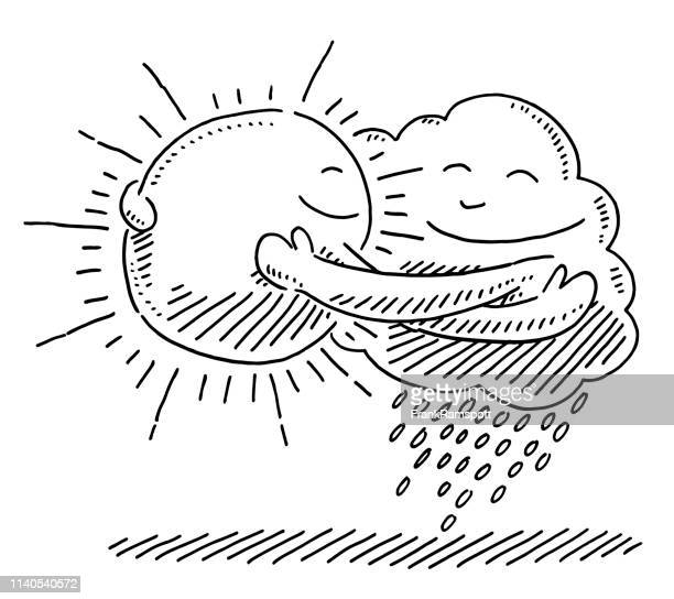 Sun And Cloud Symbol Hugging Jede andere Zeichnung