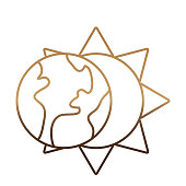 sun and earth planet icon