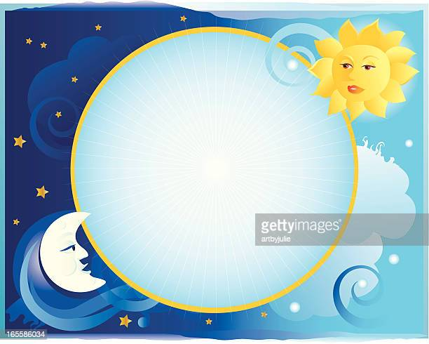 Sun and moon celestial border