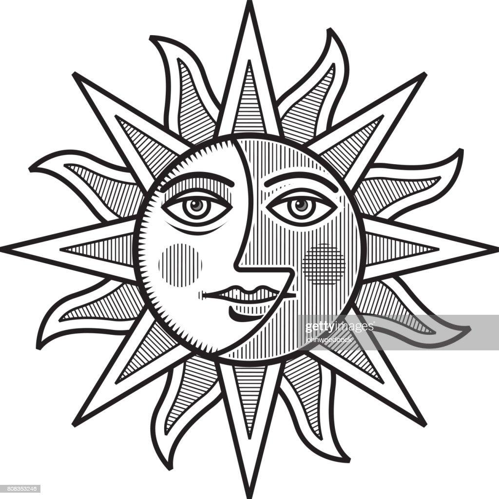 Sun And Moon Face Vector Illustration Mono Art