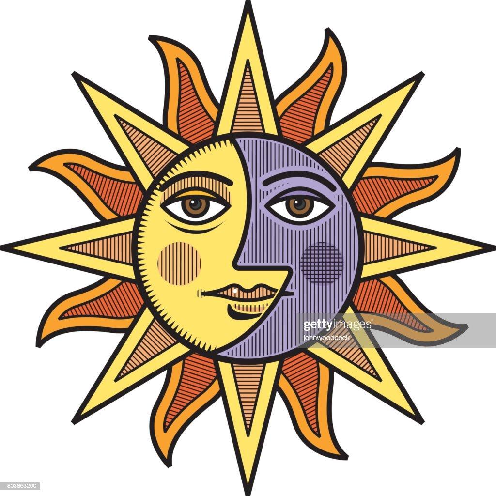 Sun And Moon Face Vector Illustration Art