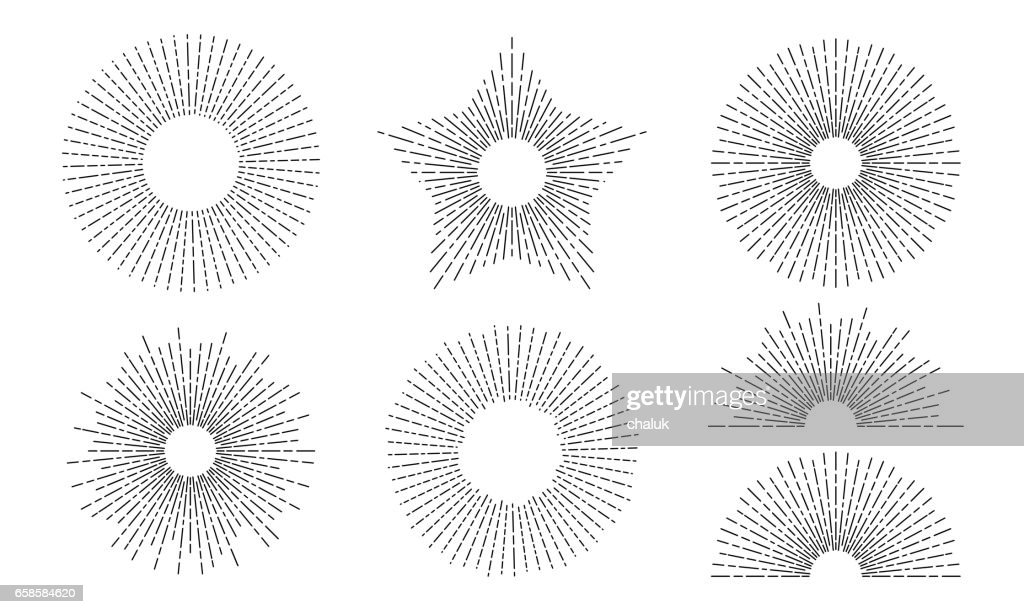 Sun and rays vector star and bow icons set of thin line