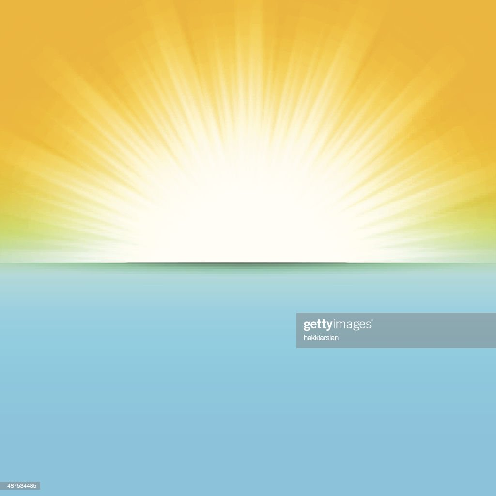 sun and sea, abstract vector illustration