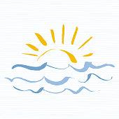 Sun and sea  icon. Handmade grunge icon isolated on white background. Sunrise over the sea. Editable vector illustration