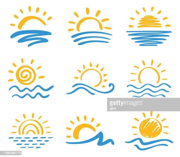 sun and sea, icon set - sunlight stock illustrations