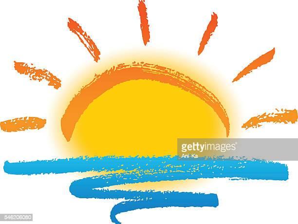 ilustraciones, imágenes clip art, dibujos animados e iconos de stock de sol y mar - puesta de sol