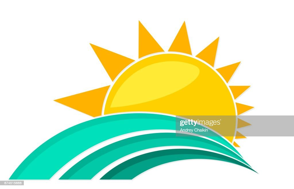 Line Art Of Sun : Sun and sea vector art getty images