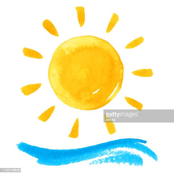 stockillustraties, clipart, cartoons en iconen met zon en golf - zon
