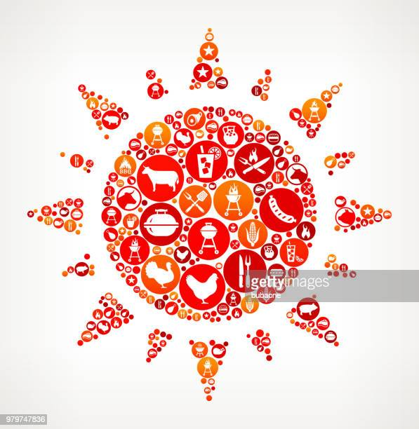 Sun  Barbecue Party Icon Pattern Background