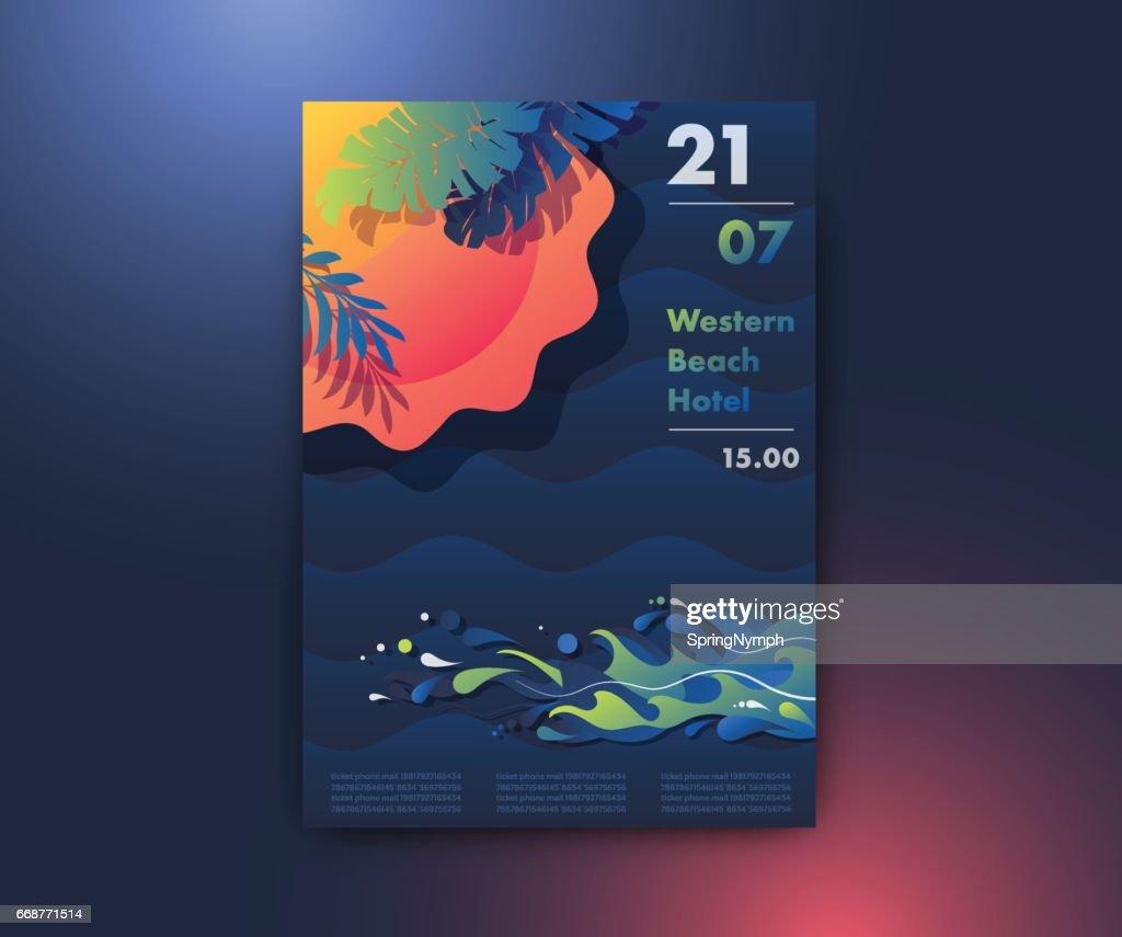 Sun, beach and sea poster design