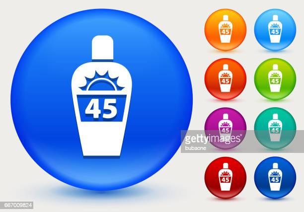 Sun Block Icon on Shiny Color Circle Buttons
