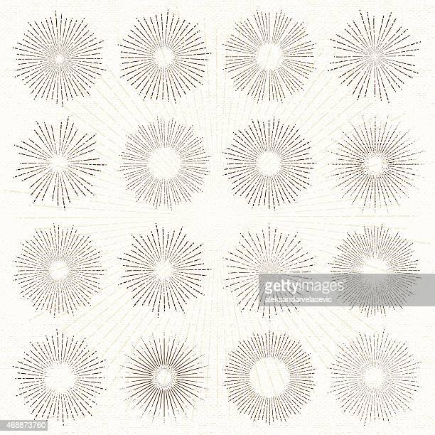 Sun Burst Line Drawings