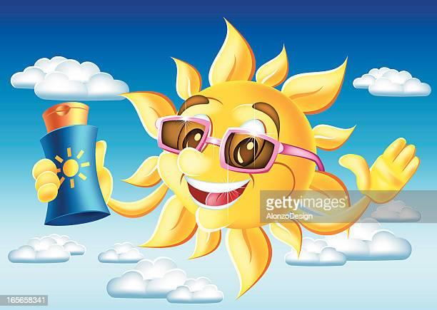 sun cartoon with suntan lotion - massage funny stock illustrations