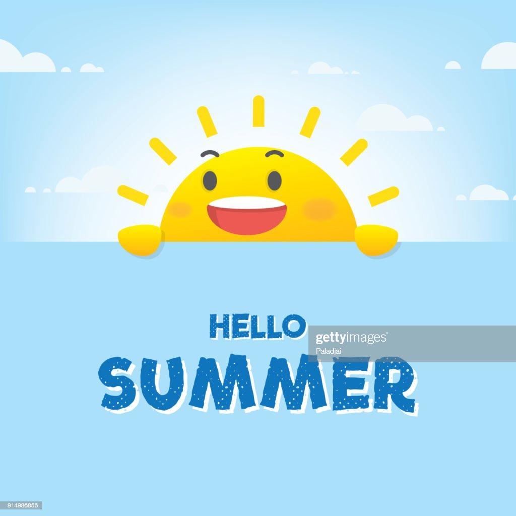Sun character summer heading design for banner or poster. Vector illustration.