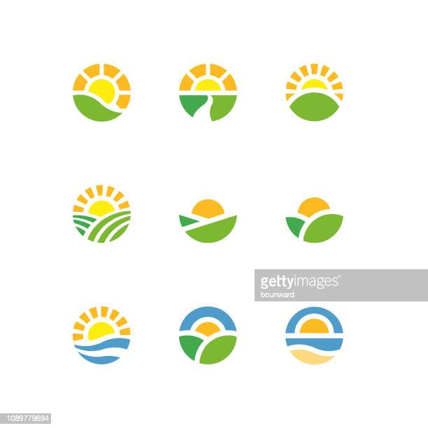 stockillustraties, clipart, cartoons en iconen met zon cirkel landschap logo 's - zon