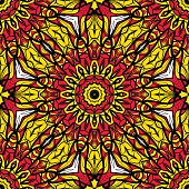 sun color seamless pattern with mandala ornament. vector illustration