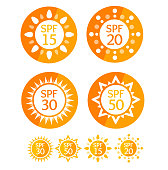 Sun Cream Round Orange Labels Spf Set. Vector