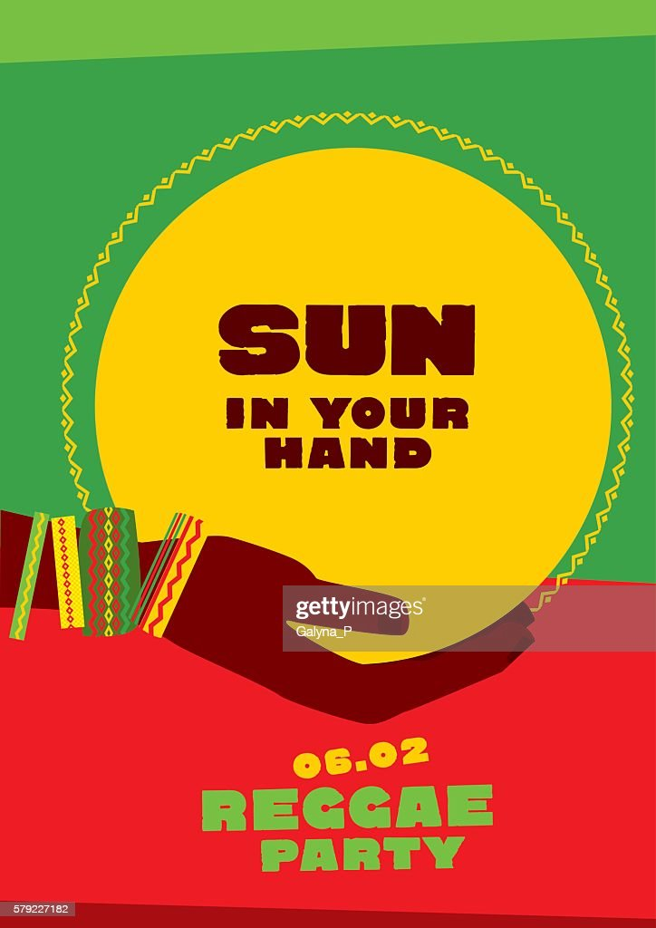 sun disk and tribal human hand with bracelets. reggae folk
