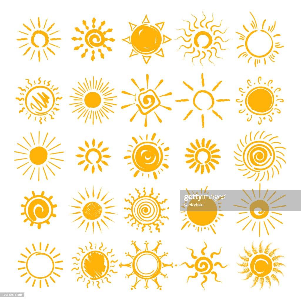 Sun doodle icons set