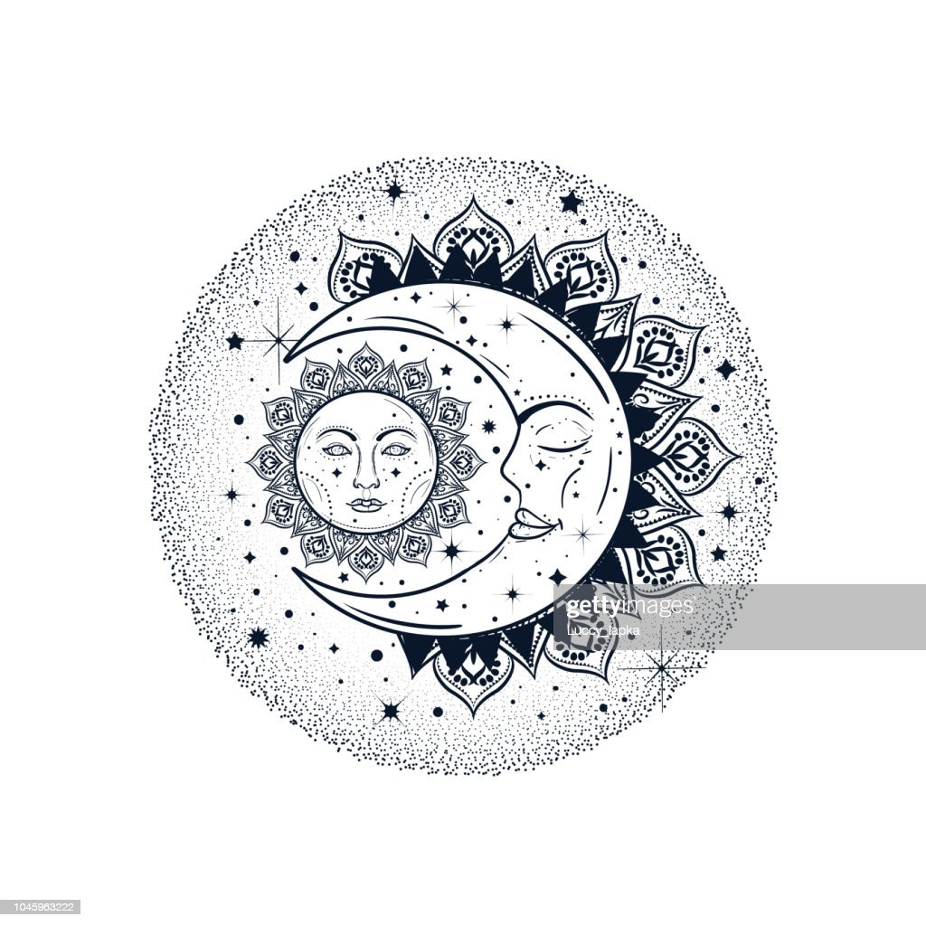 Sun eclipse concept. Vector illlustration of astronomy and astrology symbol. Vintage, Boho or gypsy style