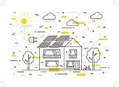 Sun electricity house vector concept