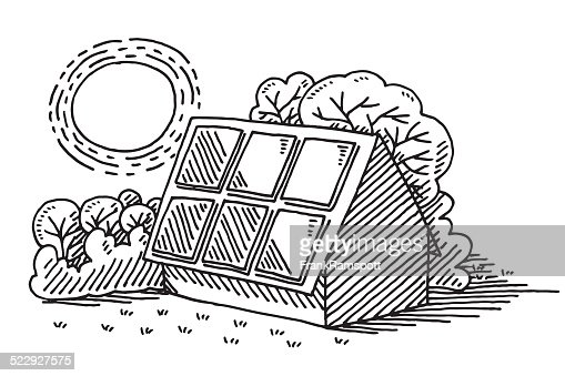 Sun Energy Solar Panel House Drawing Vector Art Getty Images