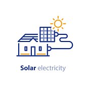 Sun energy, solar panels, home solution, electricity services line icon