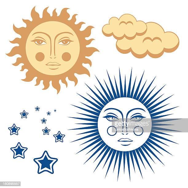 ilustraciones, imágenes clip art, dibujos animados e iconos de stock de cara de sol - sol en la cara