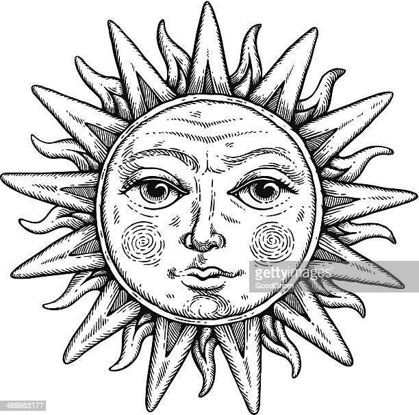 sun face - woodcut stock illustrations, clip art, cartoons, & icons