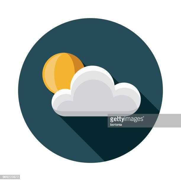 sun flat design summer icon with side shadow - overcast stock illustrations, clip art, cartoons, & icons