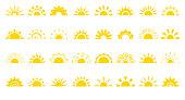 Sun flat icon logo sunrise summer web vector set