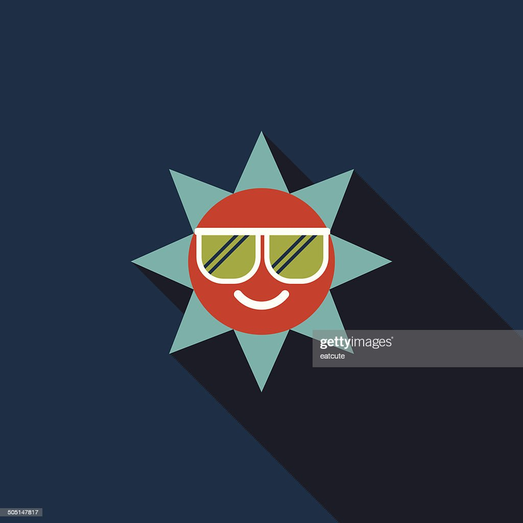 sun flat icon with long shadow
