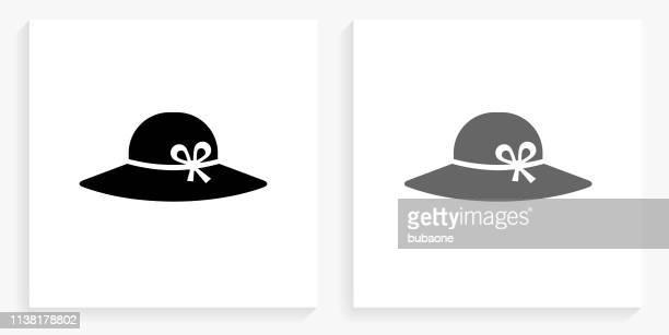 Sun Hat Black and White Square Icon