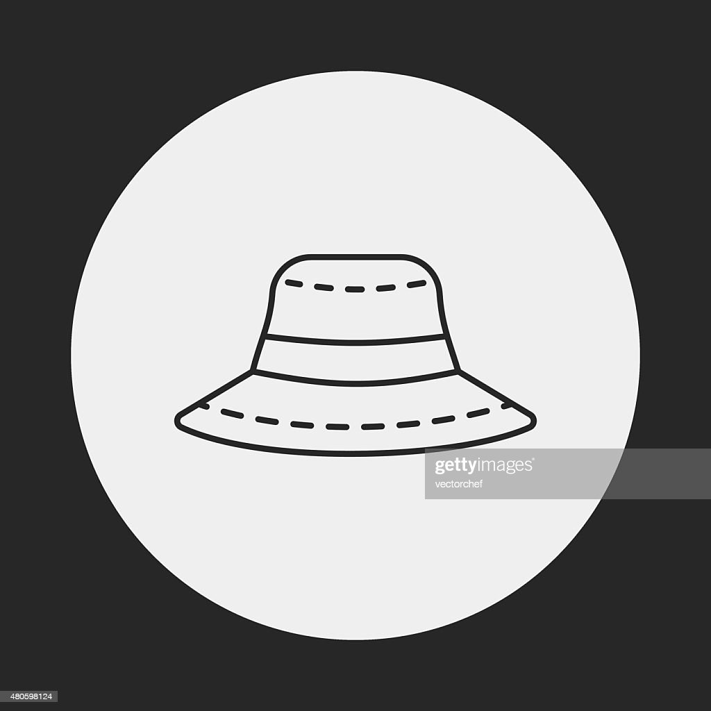 sun hat line icon : Vector Art