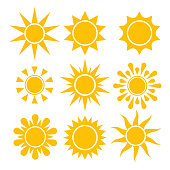 Sun icon collection. Vector isolated solar symbols.