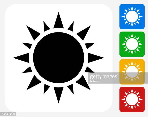 sun icon flat graphic design - solar power station stock illustrations, clip art, cartoons, & icons