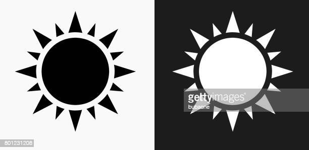 Sun Icon on Black and White Vector Backgrounds