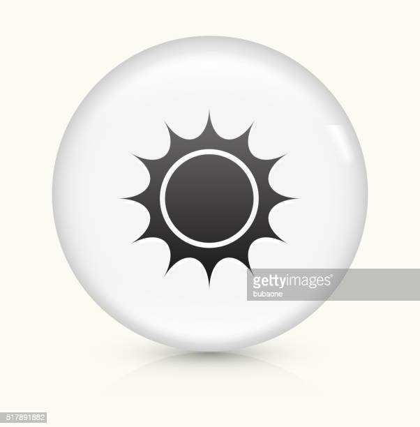 Sun icon on white round vector button
