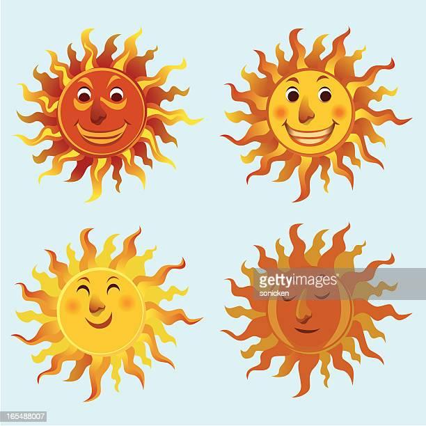 ilustraciones, imágenes clip art, dibujos animados e iconos de stock de conjuntos de iconos de sol - sol en la cara