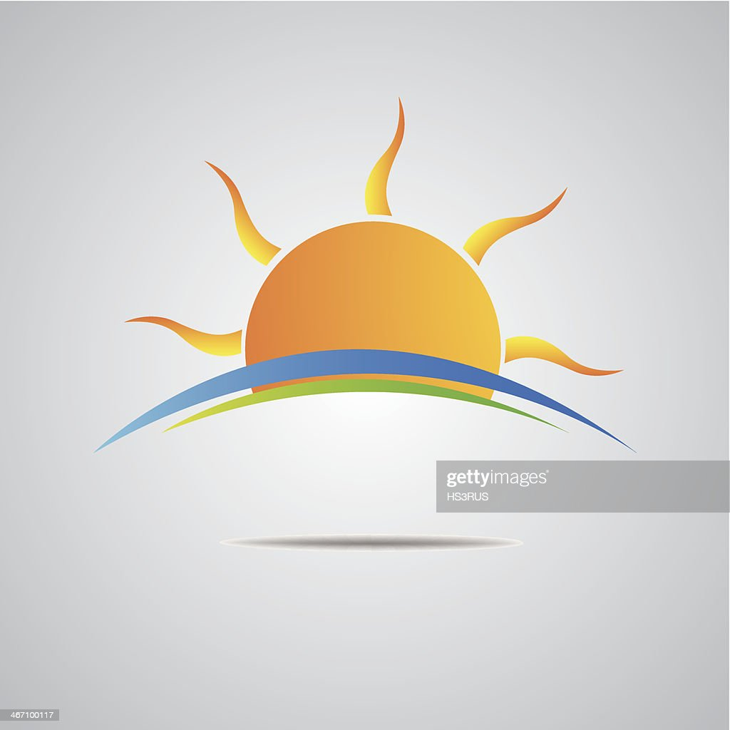 Sun icon vector horizon design
