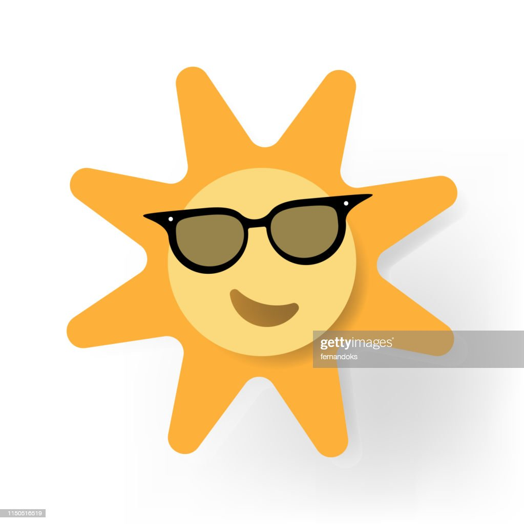 Sun icon wearing sunglass illustration