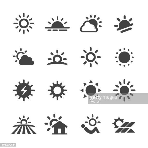 stockillustraties, clipart, cartoons en iconen met zon icons - acme serie - zon