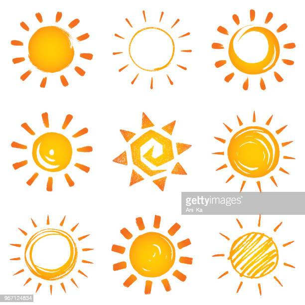 stockillustraties, clipart, cartoons en iconen met zon pictogrammen collectie - zon