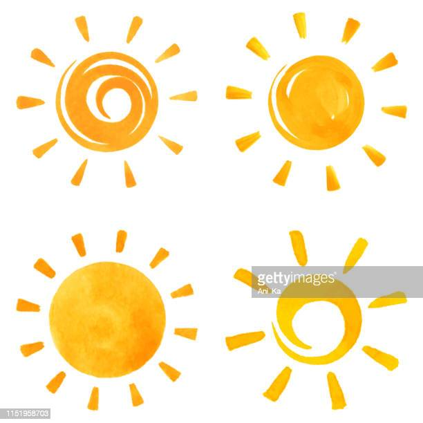 sonnen-ikonen - sunlight stock-grafiken, -clipart, -cartoons und -symbole